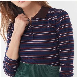 Urban Outfitters striped long sleeve polo